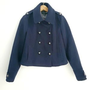 Forever 21 Blue Double Breasted Cropped Pea Coat